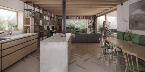Moderní interiér, beton, dřevo, kov
